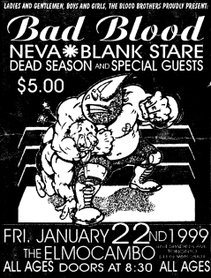 January 22nd 1999 at The El Mocambo (Toronto, ON) Dead Season with Bad Blood, Neva, Splitseconds, Street Troopers, Spinercracker, Planet Smashers, Blank Stare. Photo courtesy of Al Biddle