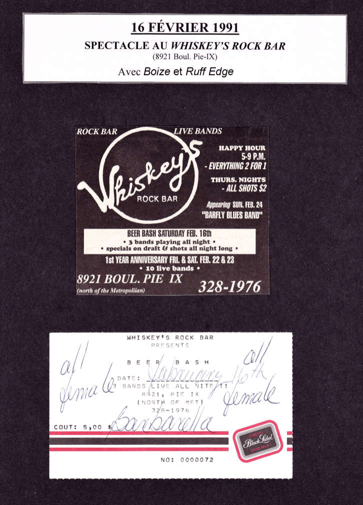 Collage of flyers promoting Boize's show at Whiskey's Rock Bar, Saint-Michel, Canada on February 16th 1991. Courtesy of Barbarella guitarist Sylvie Roy.