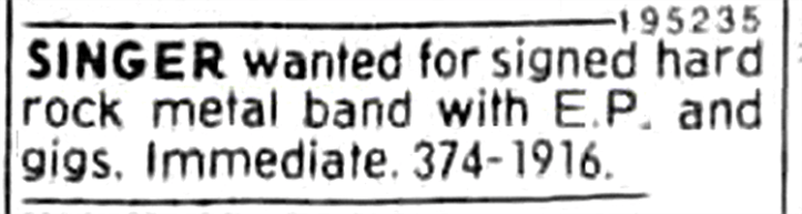 Boize's ad looking for a vocalist. Placed in Montreal's The Gazette newspaper from September 16th to the 23rd of 1992.