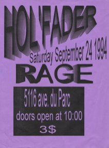 Flyer for Hol'Fader's show at Club Rage on September 24th 1994.