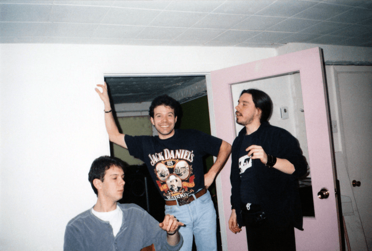 Emissary at H.Q. Studio in the winter of 1994/1995. Robert Kourie on the left, Alain Lacaille in the middle, Stephane Fania on the right. Photo by Kathy Knox