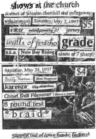 Montgomery 21 show at The Church on May 3rd 1997. With New Day Rising, Walls of Jericho, Grade, Jersey, Racer and A.K.A.
