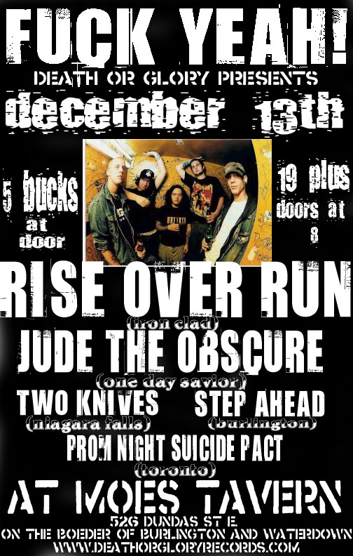 Jude the Obscure playing at Moe's Tavern on December 13th 2003. With Rise Over Run, Two Knives, Step Ahead and Prom Night Suicide Pact.