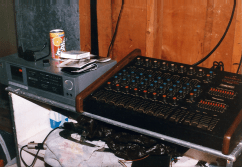 Unmarked's rehearsal space, Bob's basement, circa September 1987. PA system.