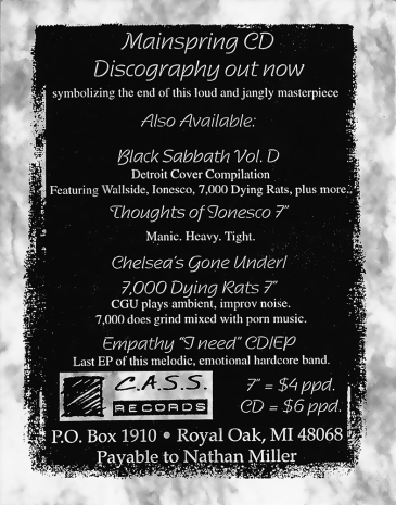 C.A.S.S. Records ad, circa 1998, promoting the Mainspring discography CD as its latest release