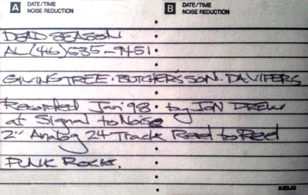 The first Dead Season demo tape, January 1998