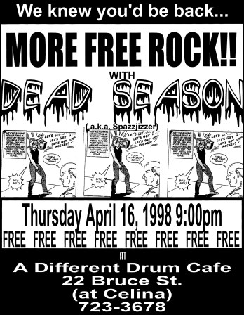 April 16th 1998 at The Different Drum Cafe (Oshawa, ON). Photo courtesy of Al Biddle