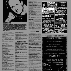 Flyer from the Montreal Mirror magazine for Boize's show at The Terminal Showbar, Montreal, Canada with Anxiety on April 15th 1991.
