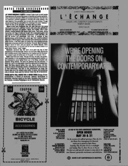 Montreal Mirror magazine, May 28th 1992 issue. Notes from Underground column by Jenny Ross featuring a Boize EP review and concert mention.