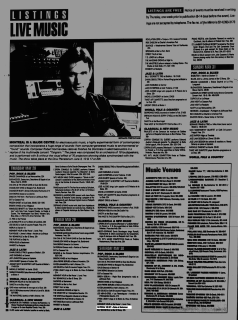 Listing from the Montreal Mirror magazine for Boize's show at the Backstreet, Montreal, Canada with National Velvet on May 30th 1992.
