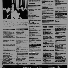 Listing from the Montreal Mirror magazine for Boize's impromptu jam at the Rockpile, Saint-Leonard, Canada on September 27th 1992.