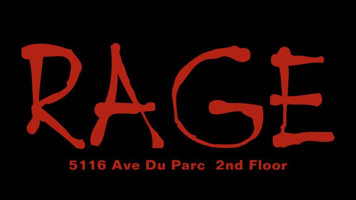 Club Rage, 5116 Park Avenue, 2nd floor, Montreal, Canada. Logo designed by Stephane Fania