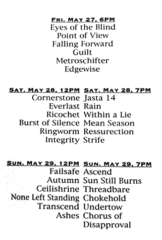 A New Hope Hardcore Festival, Madison, Wisconsin. May 27th - 29th 1994.