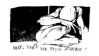 "Bird of Ill Omen ""Self, Dare You Still Breathe?"" t-shirt design, circa 1997"