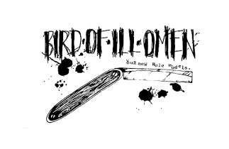 "Bird of Ill Omen ""Your New Role Models"" t-shirt design, circa 1997"