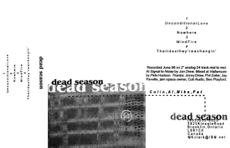 The second Dead Season demo, June 1998. Layout by Ben Playford