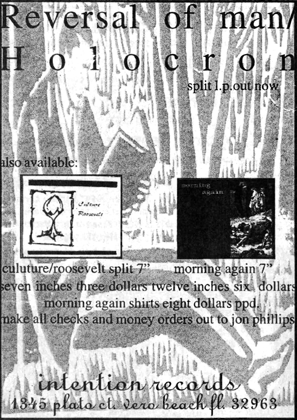 "Reversal of Man / Holocron split 12"" ad in the March 1997 issue of HeartattaCk magazine"