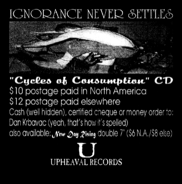 Upheaval Records ad from the HeartattaCk fanzine, May 1996