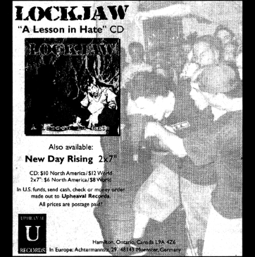 Upheaval Records ad from the HeartattaCk fanzine, November 1997