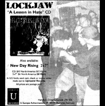 Upheaval Records ad from the HeartattaCk fanzine, November 1997