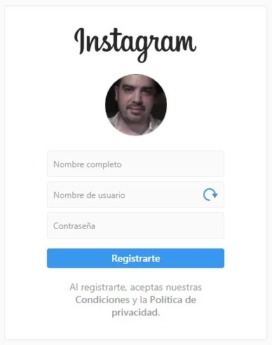 Registrarse en Instagram con Facebook