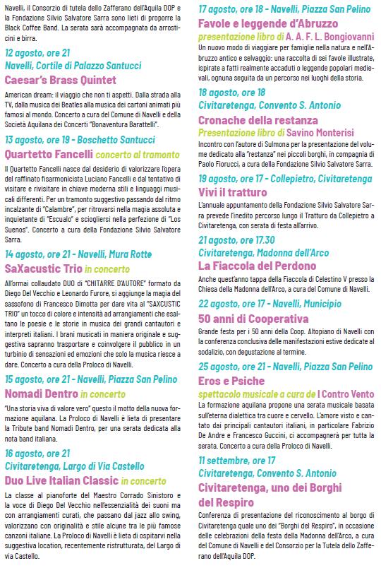 Estate a Navelli e Civitaretenga 2021 - elenco degli eventi