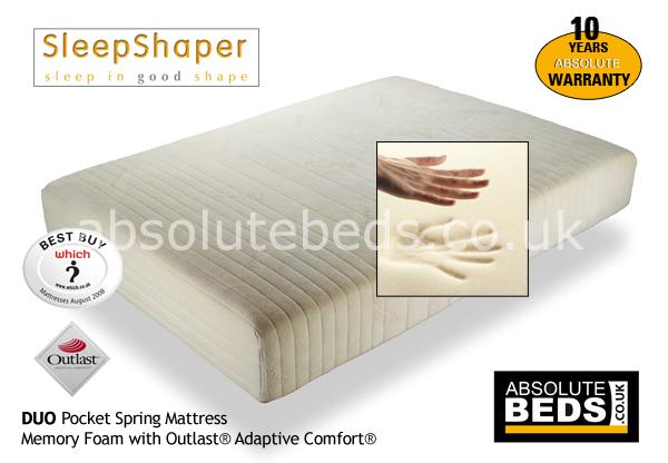 Sleepshaper Duo Pocket Spring Memory Foam Mattress With Outlast