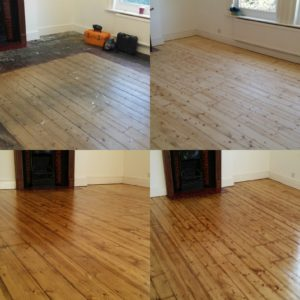 Pine floor board sanding in Worthing