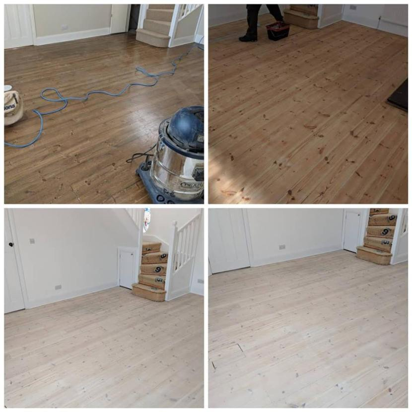 Pine Floor Sanding with a White Wash in London