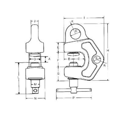 Multi Directional Lifting Clamp MODEL SBB Drawing