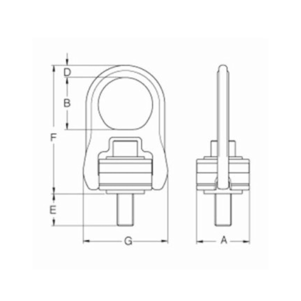 Grade 100 Swivel Hoist Ring with Alloy Steel Washer Drawing