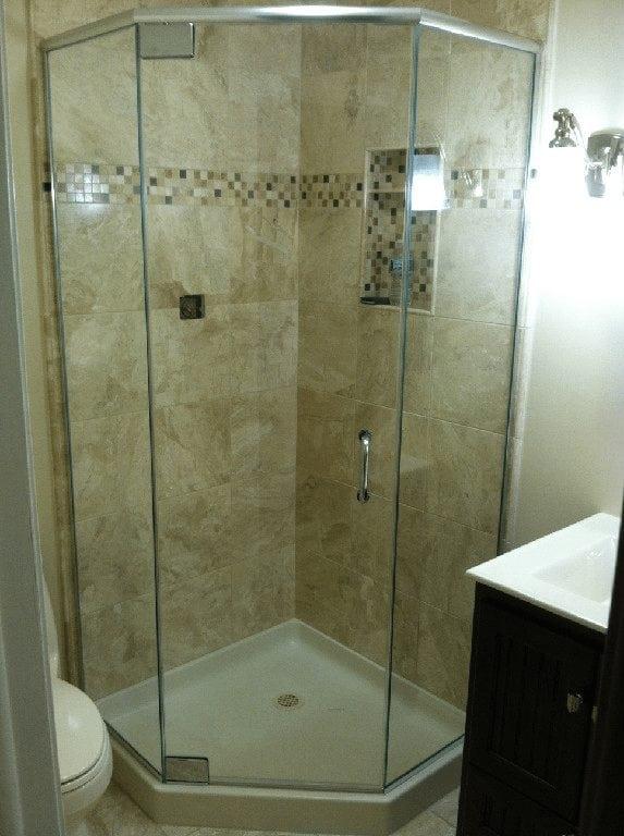 Neo Angle Frameless Shower Door - Absolute Shower Doors