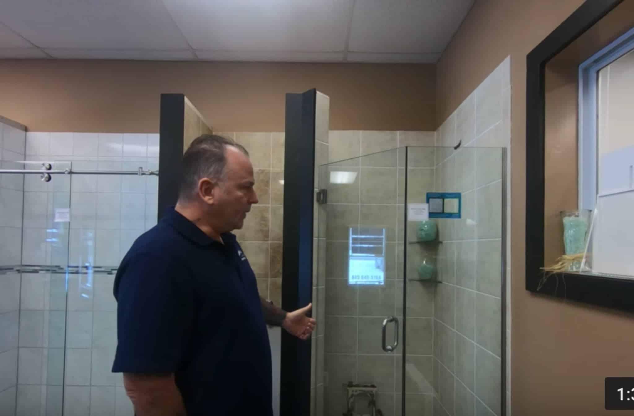 7) Shower Door Tile selection, glass tiles around shower door area ...
