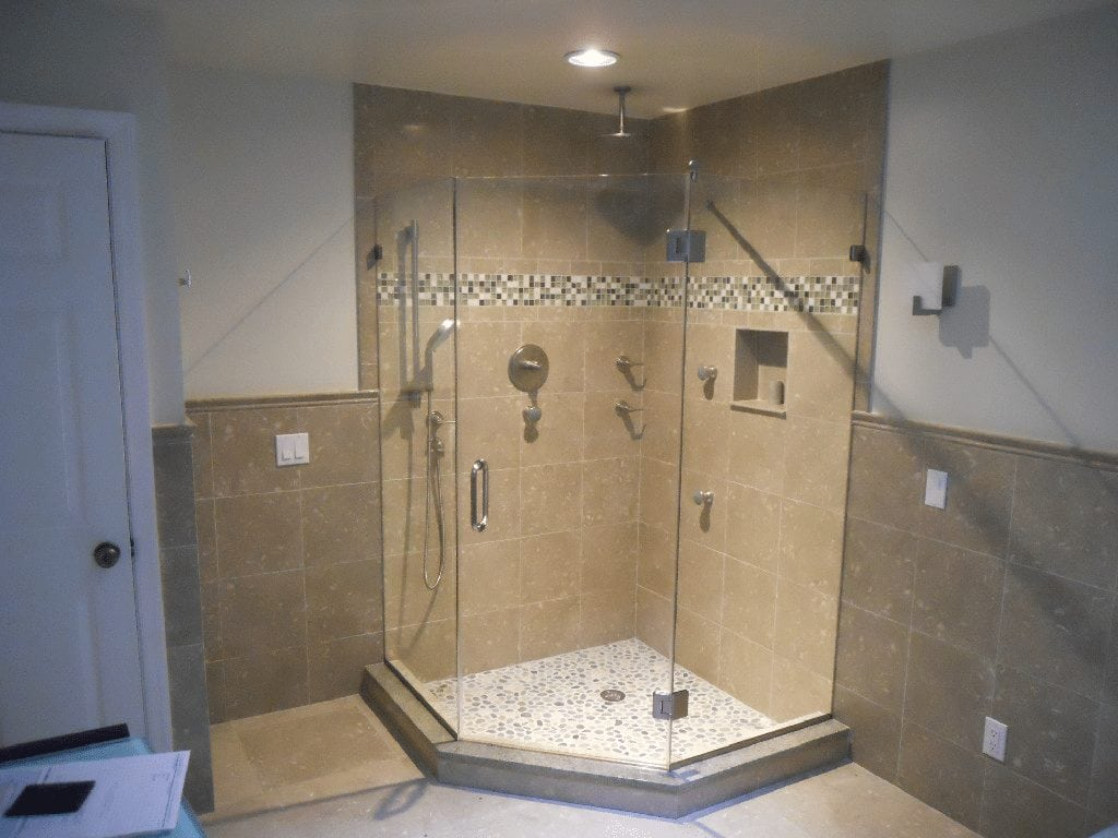 Frameless Neo Angle Shower Enclosure with Center Door