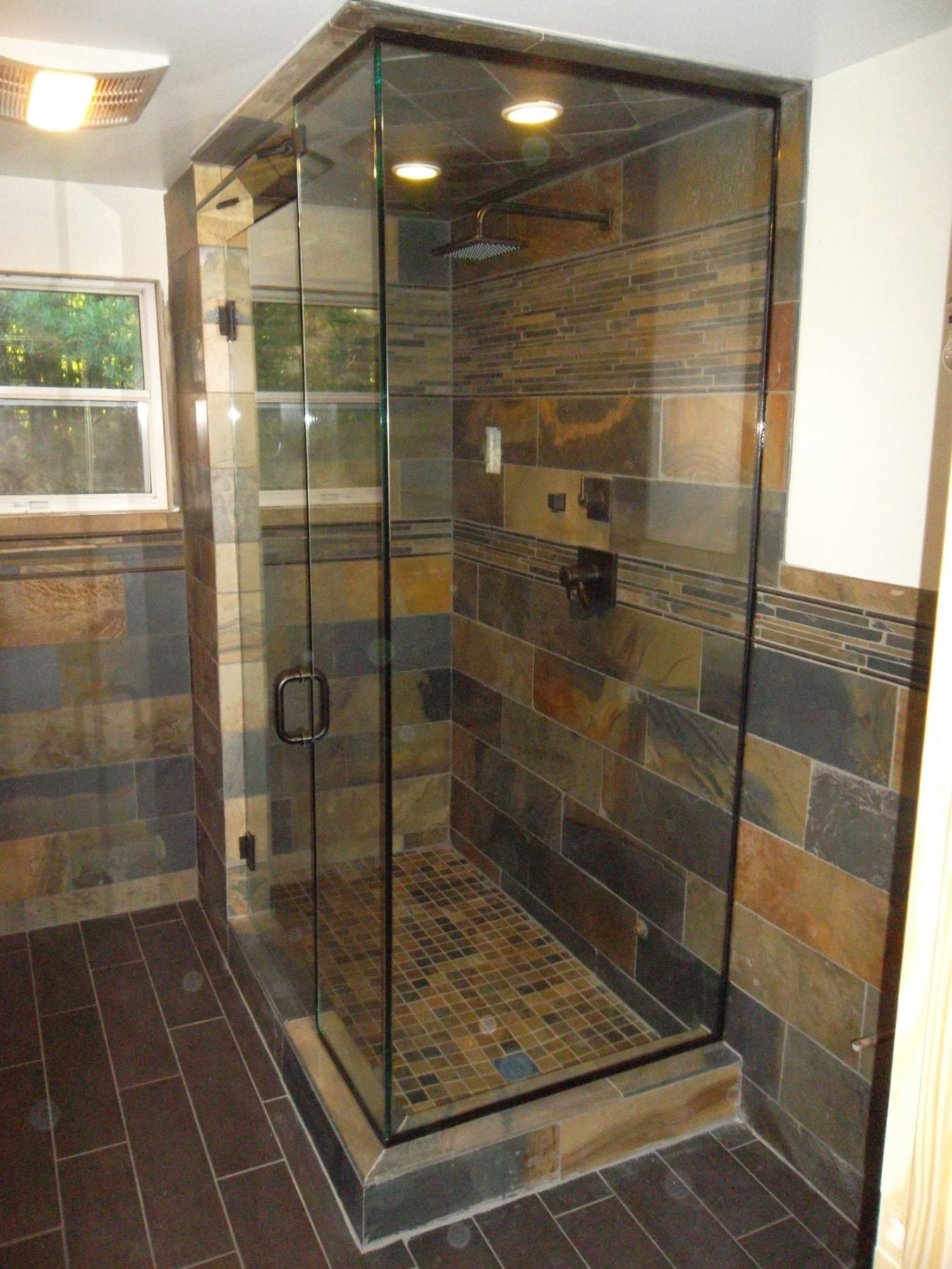 Frameless Shower Corner Enclosure Steam Unit with Transom Panel ...