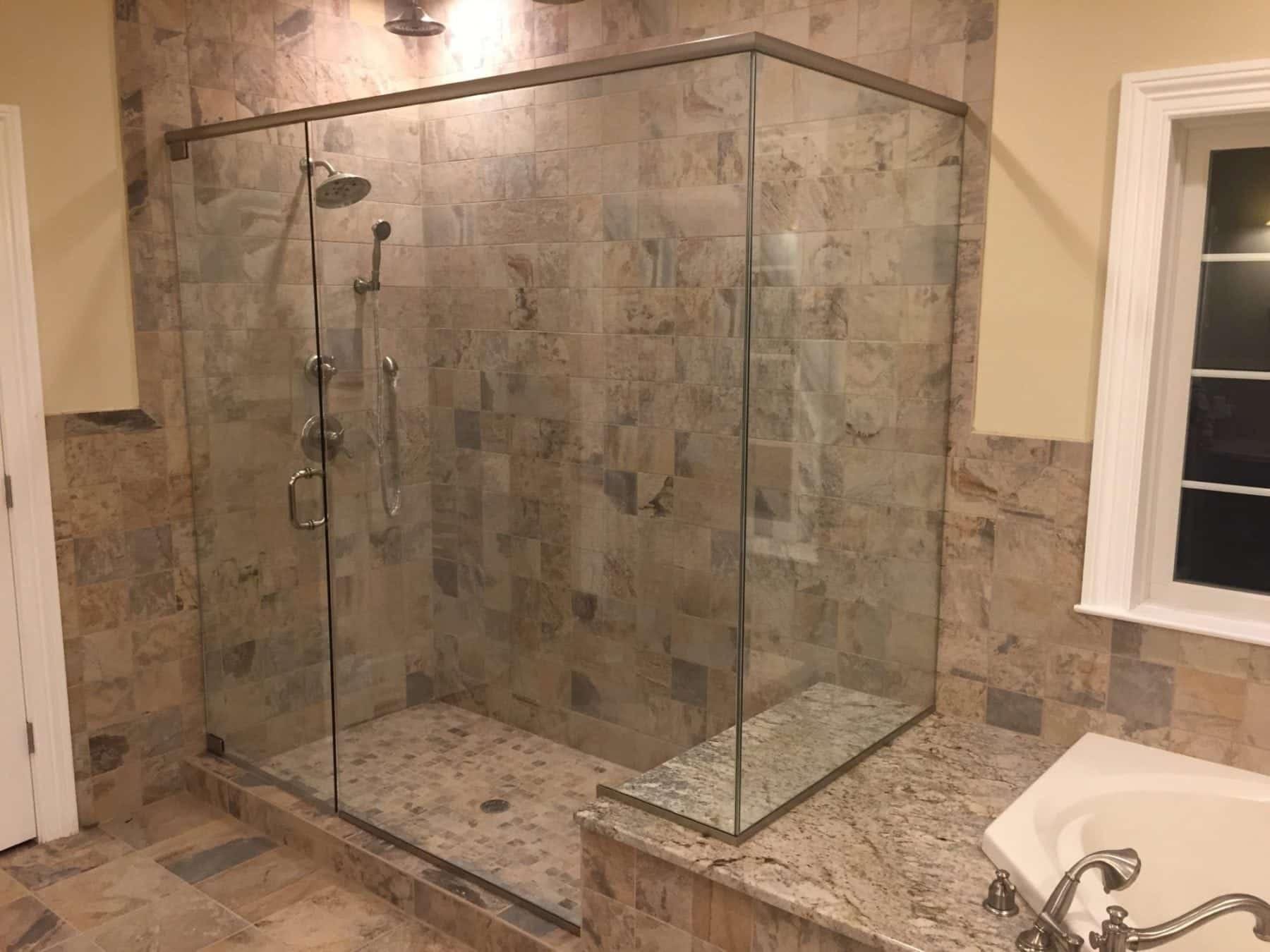 Frameless Shower Corner Enclosure With Header Notched For Tub Deck