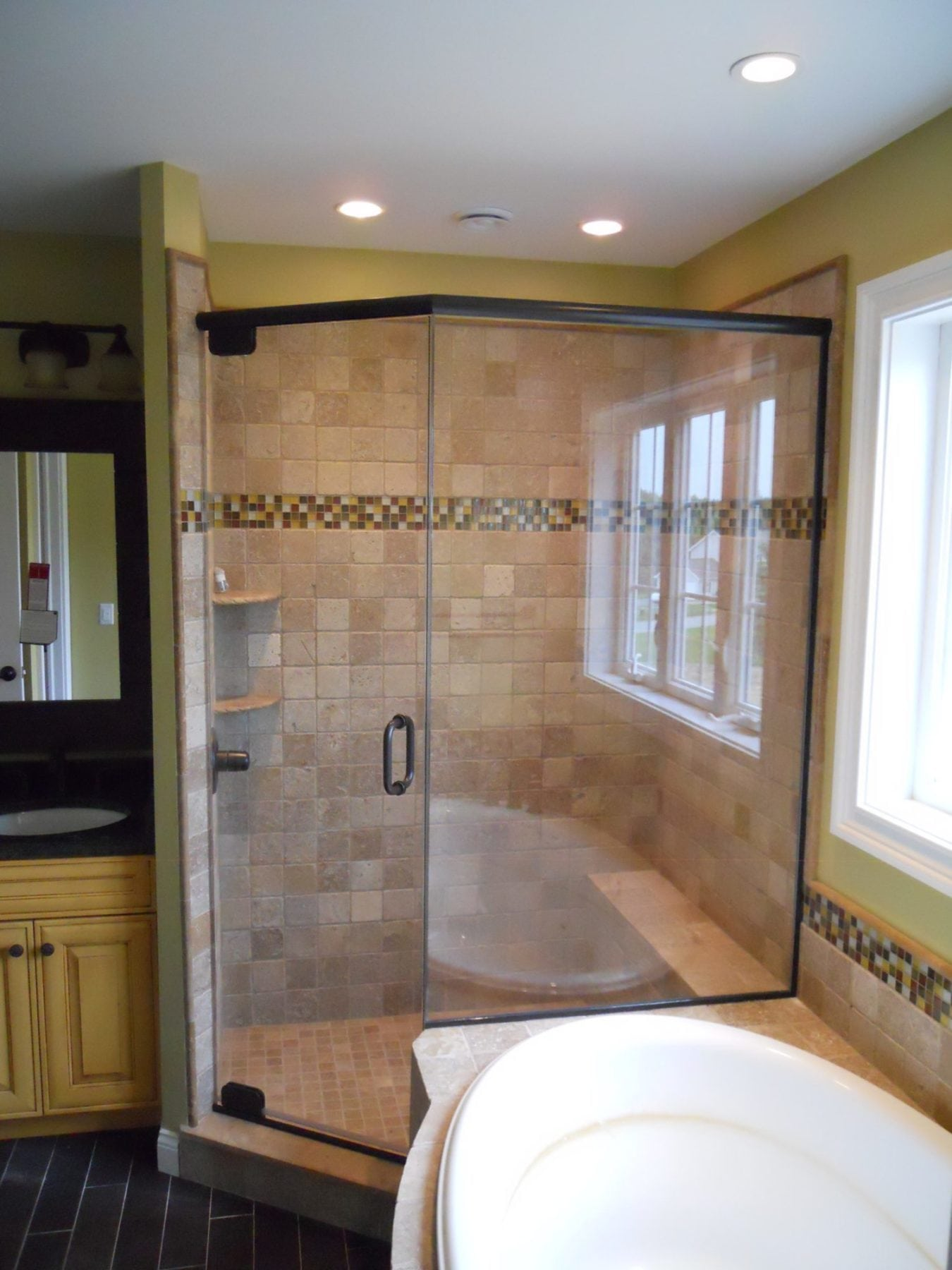 Frameless Shower Enclosure 2-3rds Neo Angle with Buttress Return on ...