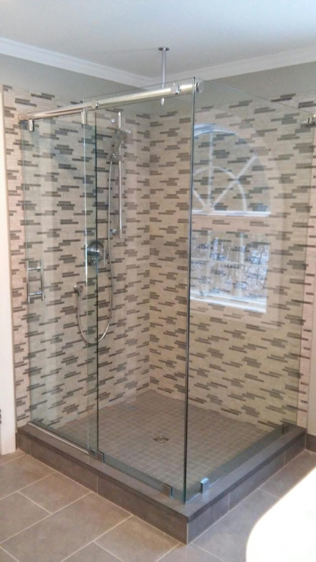 Frameless Barn Style Corner Shower Enclosure By Absolute Shower Doors
