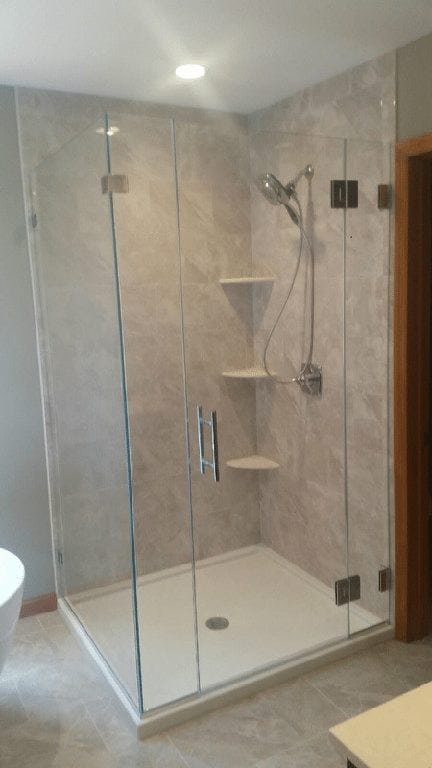 Frameless Panel Shower Door Panel With 90 Degree Return