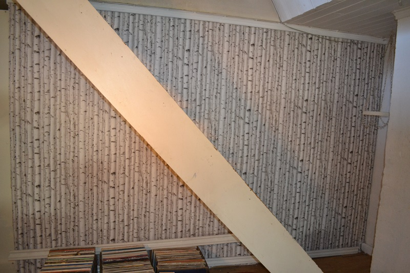 Veldig fornøyd med tapeten! Hvilken farge skal trappen males? Hvit eller lys grå?
