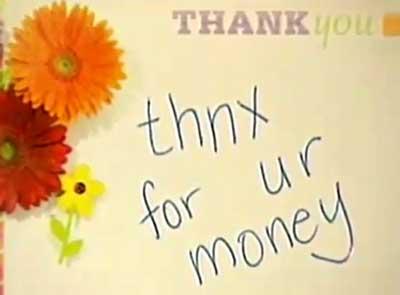thnx for ur money