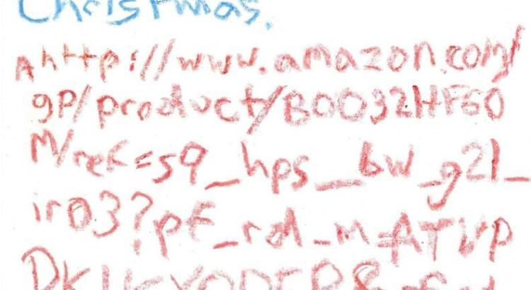 Niente lista dei regali per Babbo Natale ma un URL di Amazon