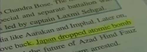"""Libro scolastico indiano dice che """"il Giappone ha attaccato l'America"""""""