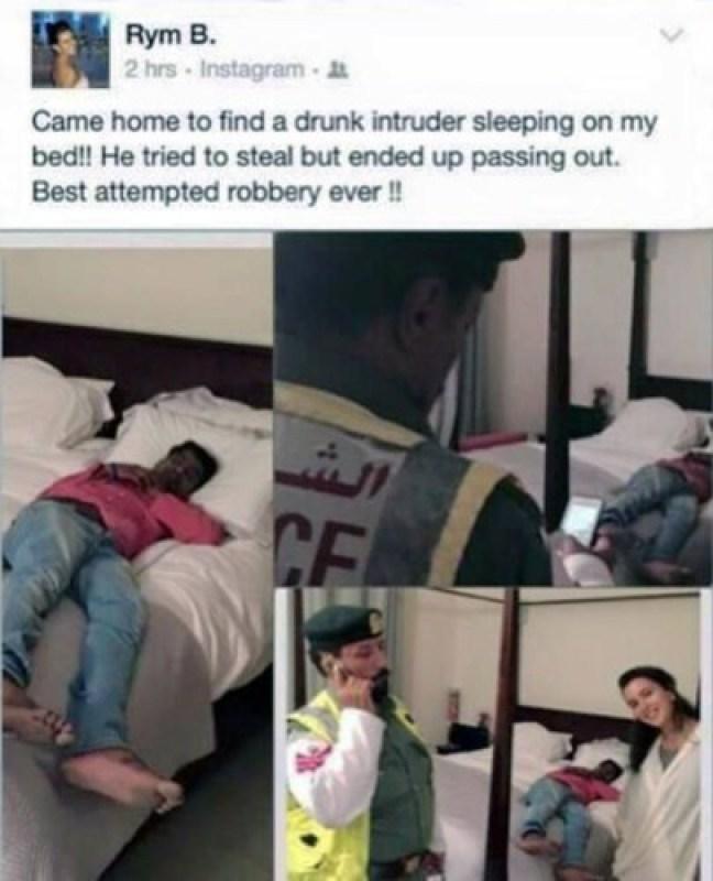 donna trova sconosciuto sul letto