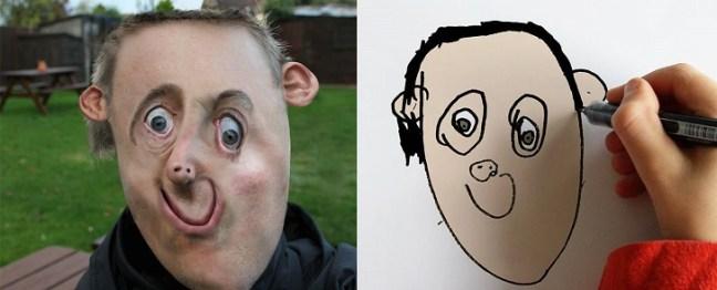 Padre rende reali i disegni di suo figlio con risultati grotteschi-5