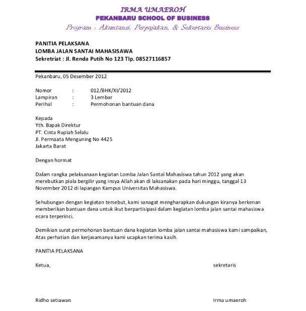 Format Surat Permohonan Bantuan
