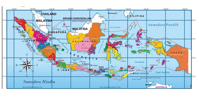 Berkat berada di garis lintang tersebut, bumi pertiwi berada di garis khatulistiwa. Peta Indonesia Hd Gambar Batas Luas Nama Provinsinya Lengkap The Book