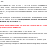 All IC Markets clients continue to remain under IC Markets Australia – 25 June 2019