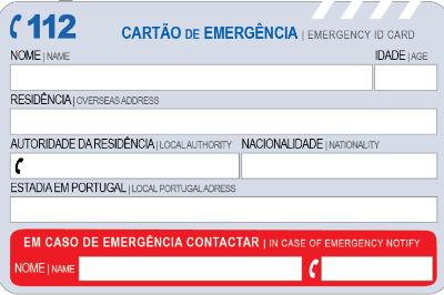 CARTÃO DE  EMERGÊNCIA