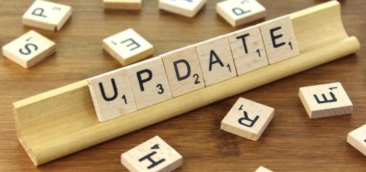 scrabble tiles on holder saying Update